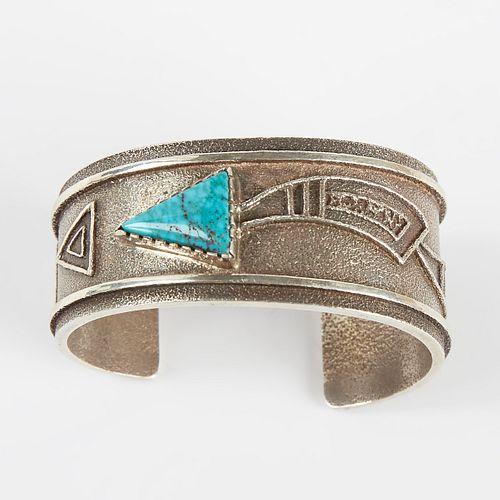 Roy Talahaftewa Hopi Turquoise & Sterling Bracelet