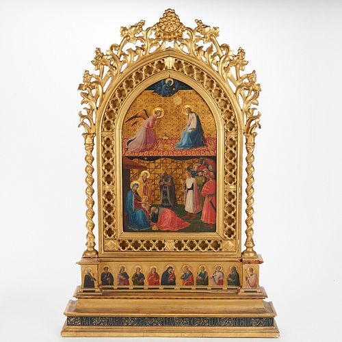 "After Fra Angelico ""The Annunciation and Adoration of the Magi"" Tempera Gold on Panel"