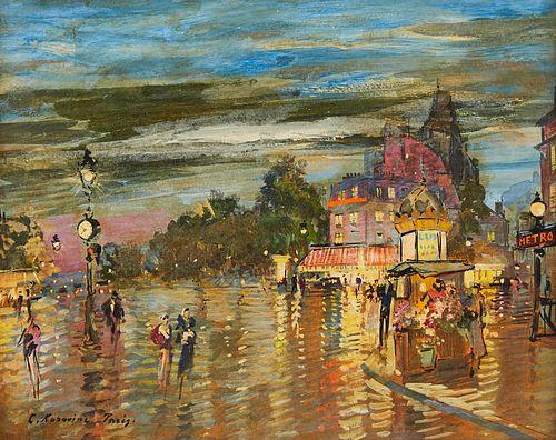 """Konstantin Korovine """"Paris a Cote du Bois de Boulogne"""" Oil on Board"""
