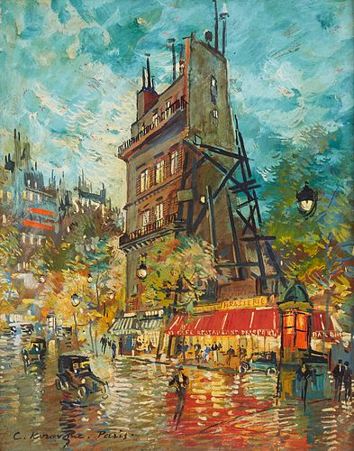Konstantin Korovine Parisian Street Scene Oil on Board