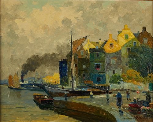 "Rudolf Weber ""At Harderwijk"" Oil on Canvas"