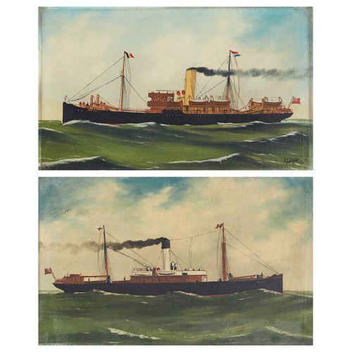 Pair of Alfred Jansen Ship Paintings Oil on Canvas