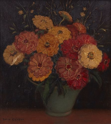 David Ericson Floral Still Life Painting on Board
