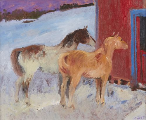 Cameron Booth Sorrel and Paint Ponies Oil on Canvas