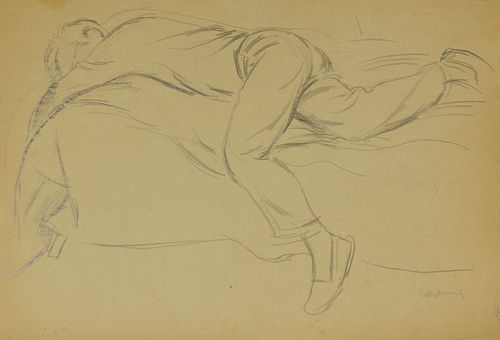 "Paul Cadmus ""JF"" Figure Laying Down Graphite on Paper"