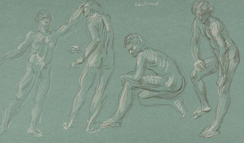 Paul Cadmus 4 Nudes Crayon on Green Paper