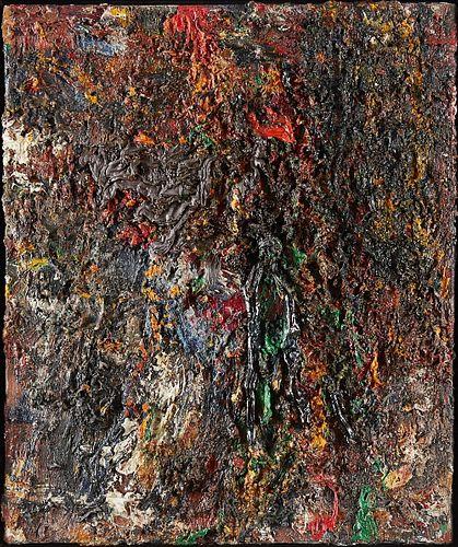 "Eugene Leroy ""La Bleu Rouge"" Oil on Canvas"