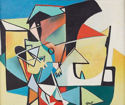 Walter Quirt Abstract Oil and Casein on Canvas