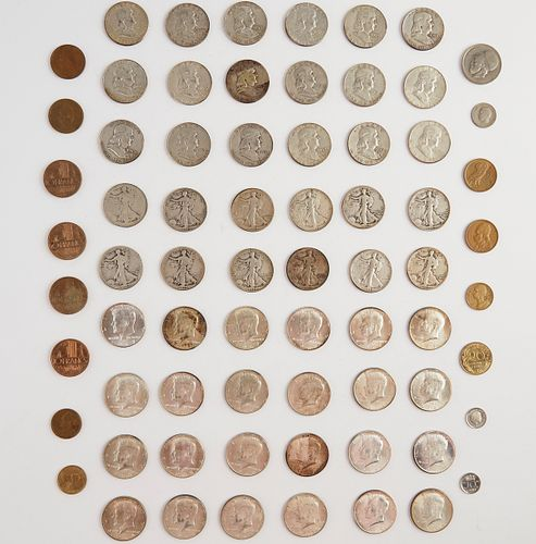 Grp: 54 Half Dollar Coins & 16 Foreign Coins