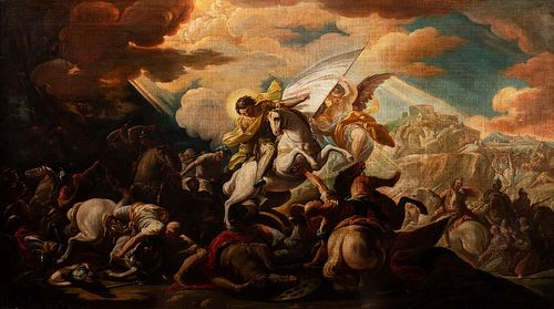 Scuola romana, secolo XVIII - The Battle of Ponte Milvio