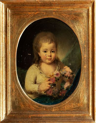 Scuola francese, secolo XIX - Portrait of little girl with flowers in her hand