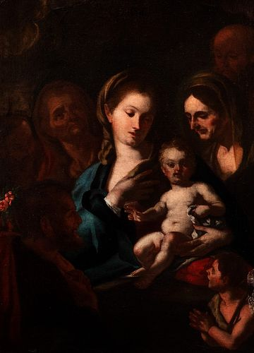 Scuola napoletana, secolo XVII - Madonna with Child, San Giovannino and Saints