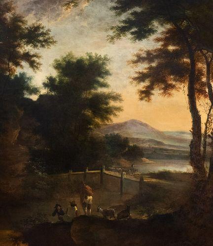 Jan  Both (Utrecht  1618-1652)  - River landscape with stone bridge, shepherds and herds