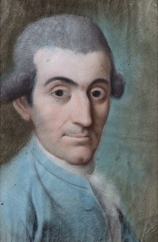 Scuola veneta, secolo XVIII - Half-length portrait of a man with a gray wig and light blue jacket