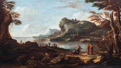 Atelier di Salvator Rosa (Napoli 1615 – Roma 1673) - River landscape with fishermen and wayfarers