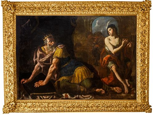 Pittore caravaggesco attivo nell'Italia meridionale, circa 1620 - 1630 - David plays the harp in front of Saul