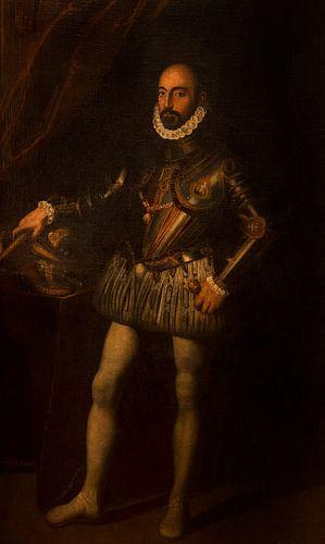 Atelier di Scipione Pulzone (Gaeta 1544 - Roma 1598) - Portrait of Marcantonio Colonna in armor, full length