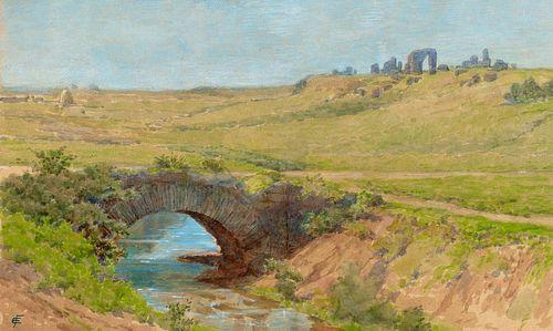 Ettore Ferrari (Roma 1845-1929)  - Three views of the Via Appia near Rome