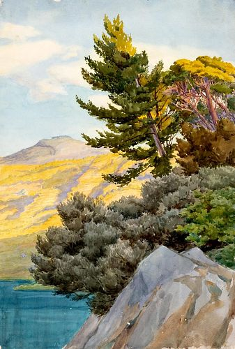 Ettore Ferrari (Roma 1845-1929)  - Two views of Lake Albano