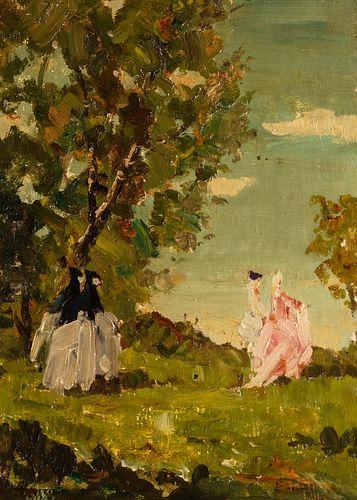 Emma Ciardi (Venezia 1879-1933)  - Costumed characters in the park