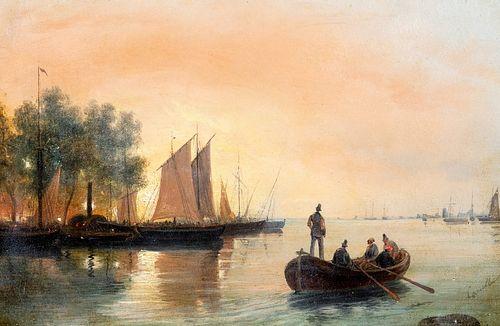 Scuola veneta del XIX secolo - Boats in the harbor