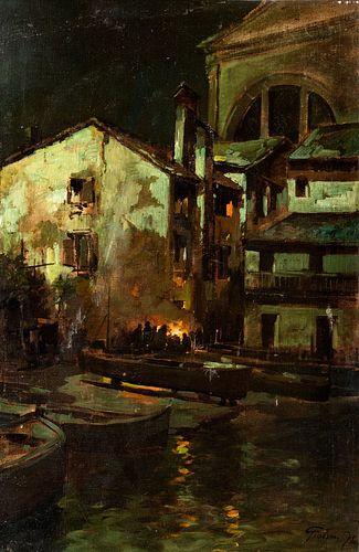 Felice Giordano (Napoli 1880-Capri  1964)  - Venice, the Squero di San Trovaso