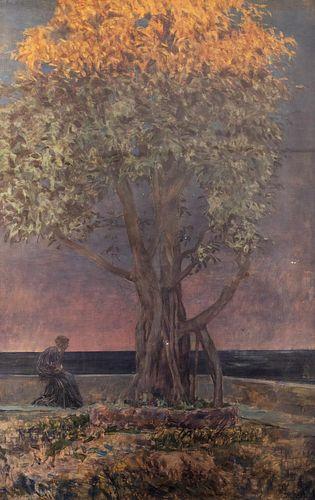 Luigi Conconi (Milano 1852-Milano 1917)  - Woman under the tree