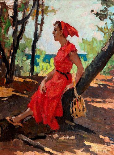 Cafiero Filippelli (Livorno 1889-1973)  - Stop in the pine forest