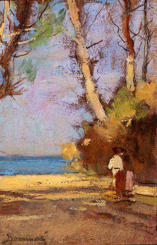 Ludovico Tommasi (Livorno 1866-Firenze 1941)  - Confidences going to the sea