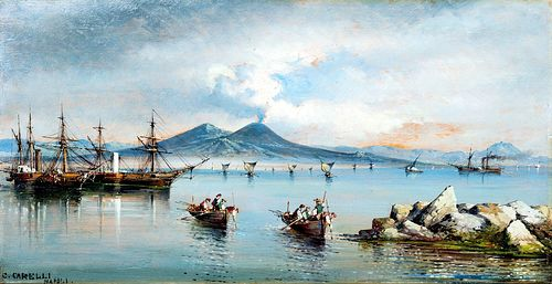 "Consalvo Carelli (Napoli 1818-1910)  - ""Mergellina beach in Naples"""