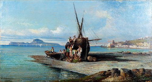 Consalvo Carelli (Napoli 1818-1910)  - View of the bay of Naples with boats and fishermen