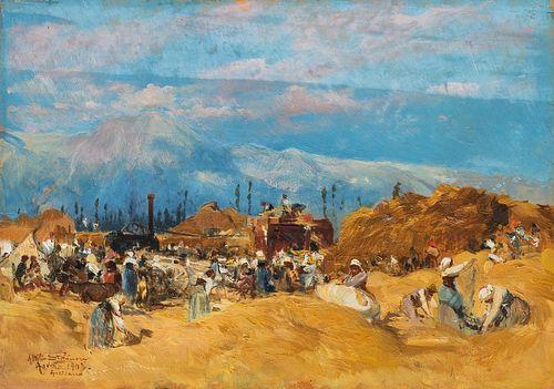 Attilio Stefanori (Roma 1860-1911)  - Avezzano, the harvest, 1903