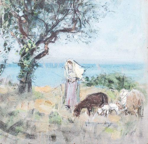Francesco Paolo  Michetti (Tocco di Casauria 1851-Francavilla al Mare 1929)  - Shepherdess with flock near the coast