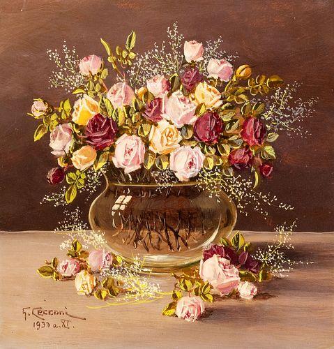 G. Cecconi (Scuola italiana XIX - XX secolo) - Vase of roses, 1933