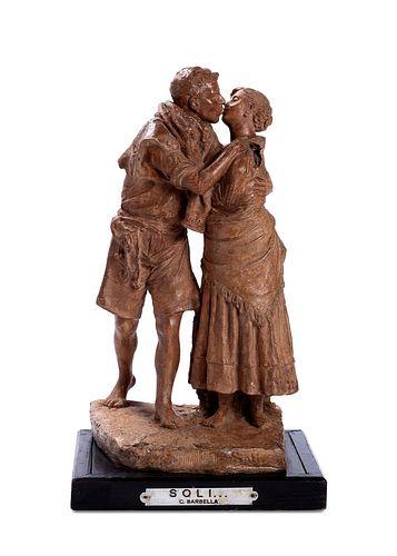 Costantino Barbella (Chieti 1852-Roma  1925)  - Alone or Basket of love, 1879
