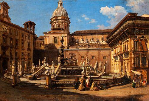 Teodoro Duclère (Napoli 1814-1869)  - The fountain of Piazza Pretoria in Palermo