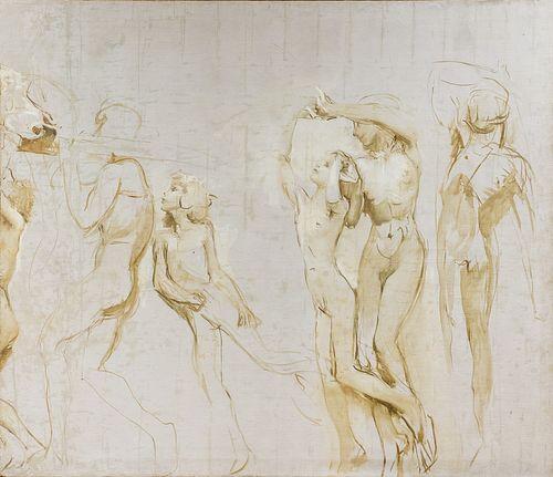 Giulio Aristide Sartorio (Roma 1860-1932)  - Large oil study for the decorative cycle of the 1907 Venice Biennale, 1906 circa