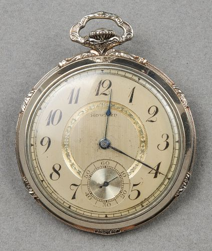 Art Deco E. Howard 14K White Gold Pocket Watch
