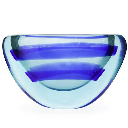 Seguso Style Murano Teal & Blue Glass Vase