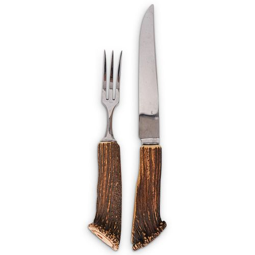 (2) Hermes Paris Antler Carving Set