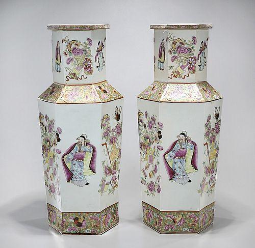 Pair Tall Chinese Enameled Porcelain Hexagonal Vases