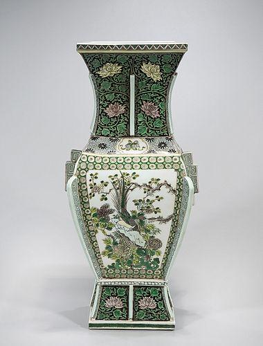 Chinese Four-Faceted Enameled Porcelain Zun-Vase
