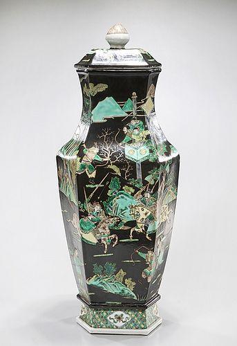 Tall Chinese Enameled Porcelain Hexagonal Covered Vase