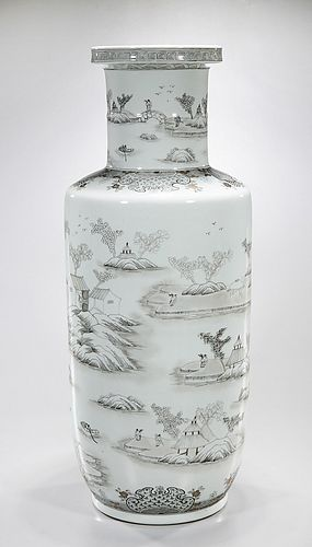 Tall Chinese Ink Color Porcelain Vase