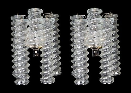 A Pair of Venini Glass Wall Sconces