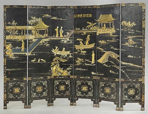 Chinese Six Panel Painted Wood Screen