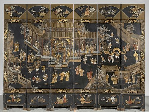 Large Chinese Six Panel Painted Wood Screen