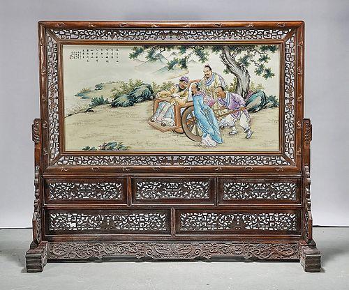 Chinese Framed Enameled Porcelain Plaque