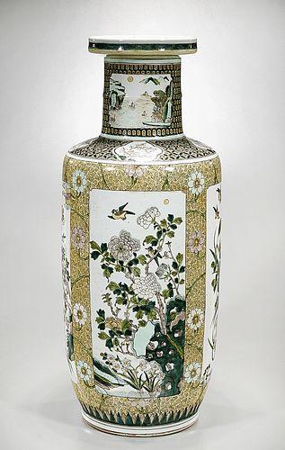 Tall Chinese Enameled Porcelain Kangxi-Style Vase