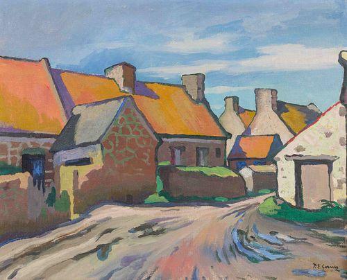 Paul Elie Gernez (French, 1888-1948) Rue de village et maisons, Bretagne